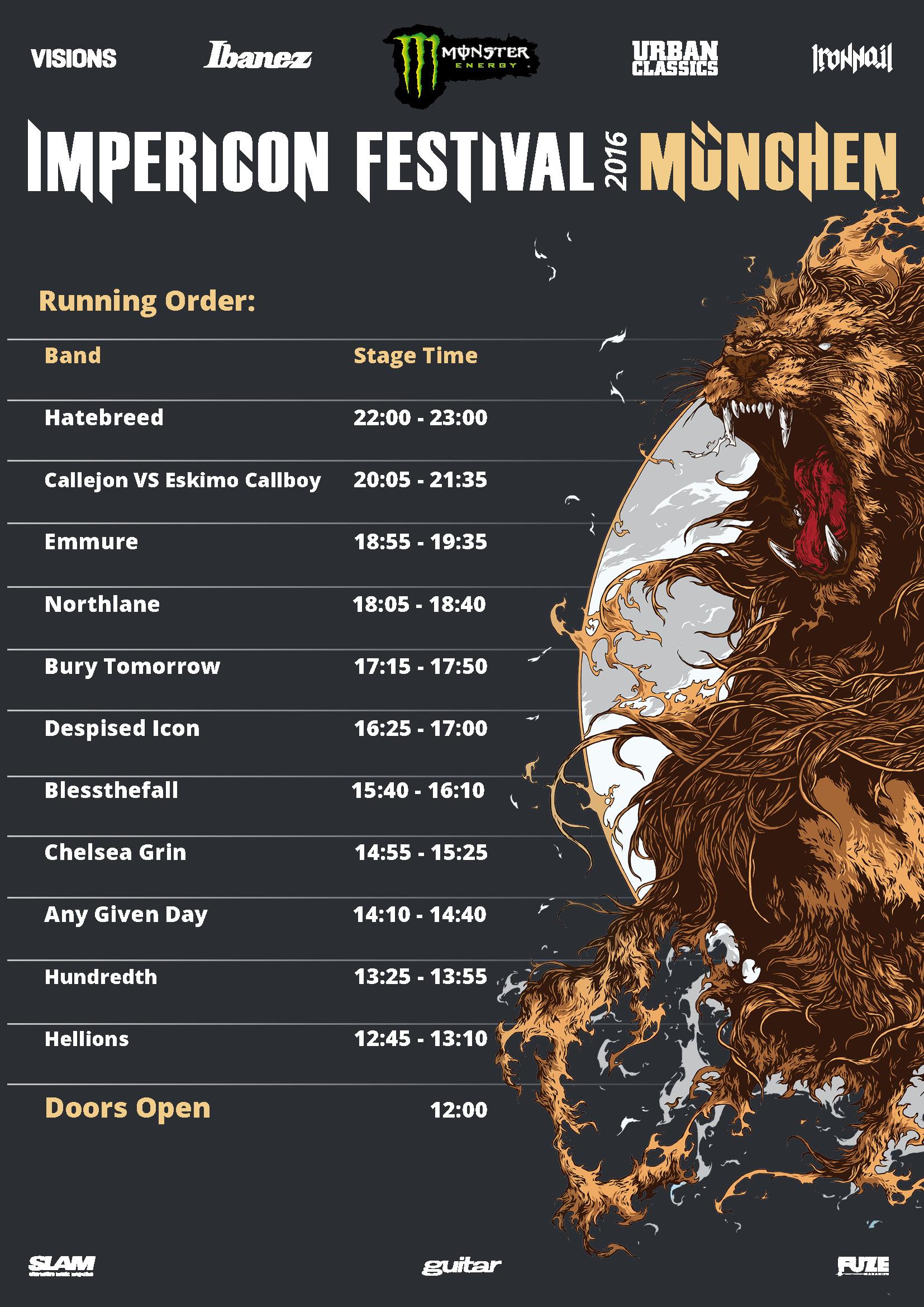Running Order Impericon Festivals München