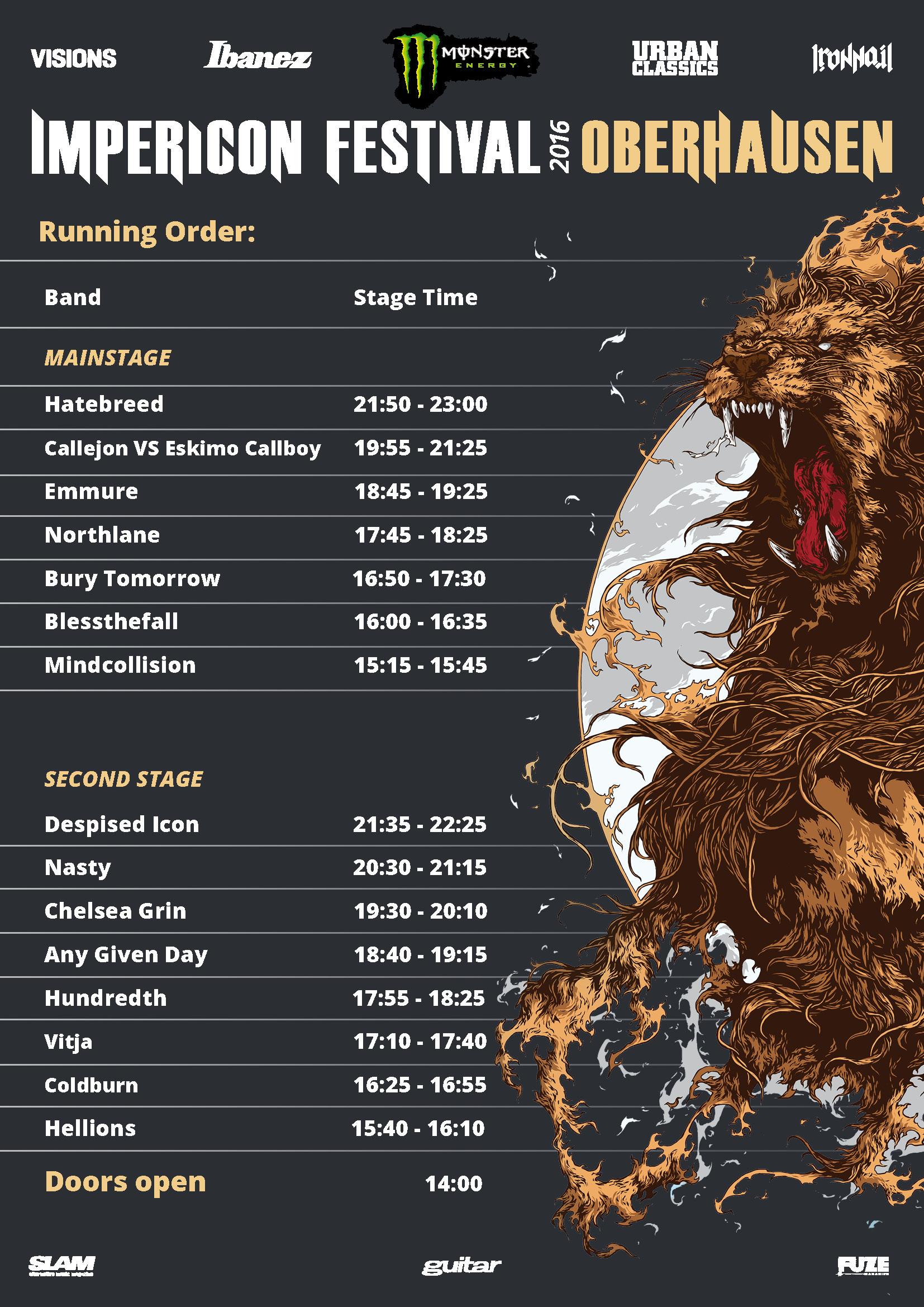Running Order Impericon Festivals Oberhausen