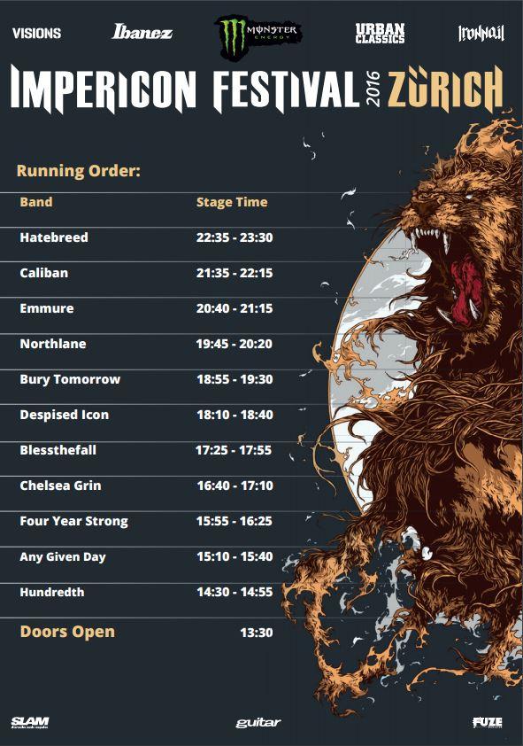 Running Order Impericon Festivals Zürich