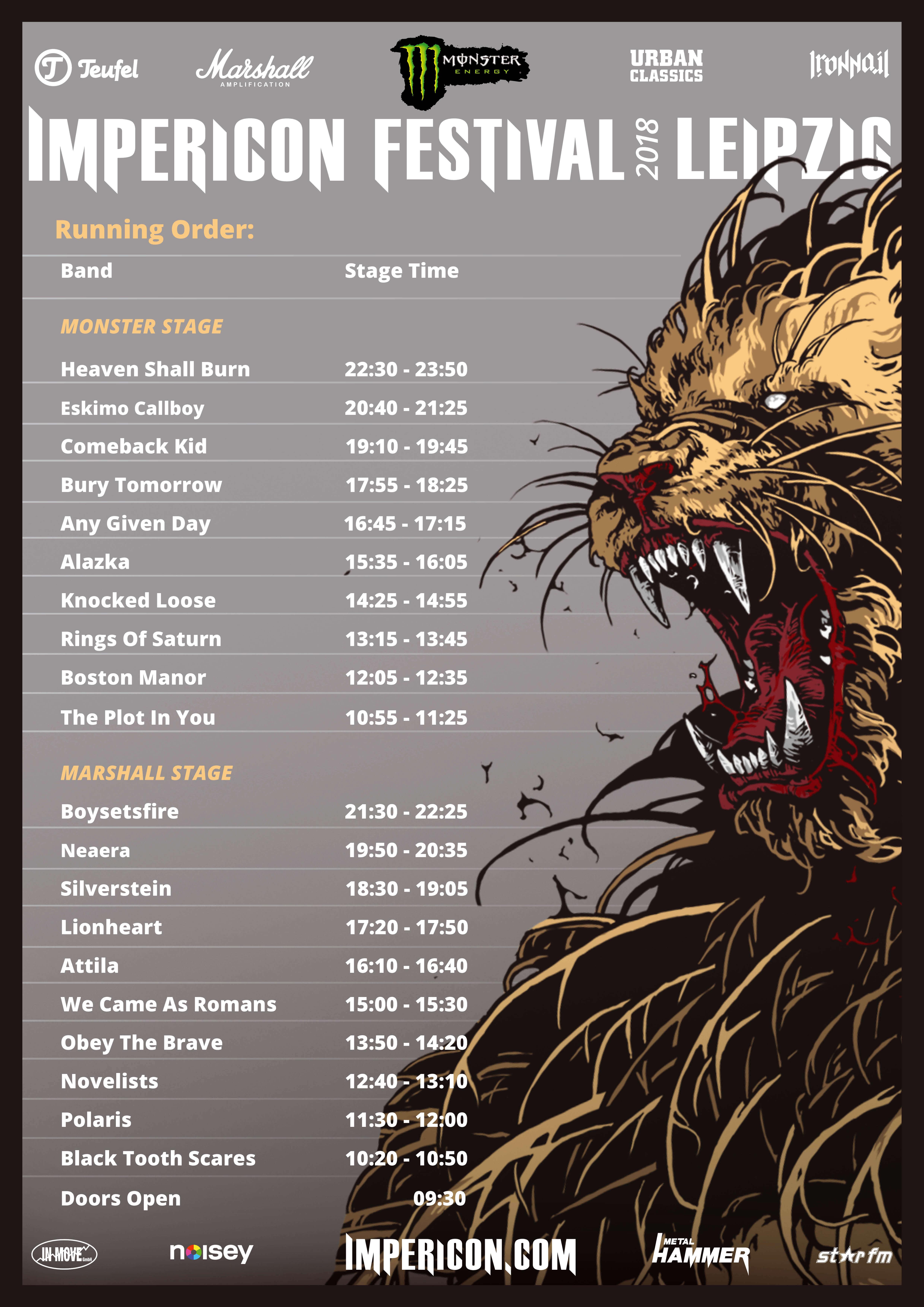 Running Order Impericon Festival Leipzig