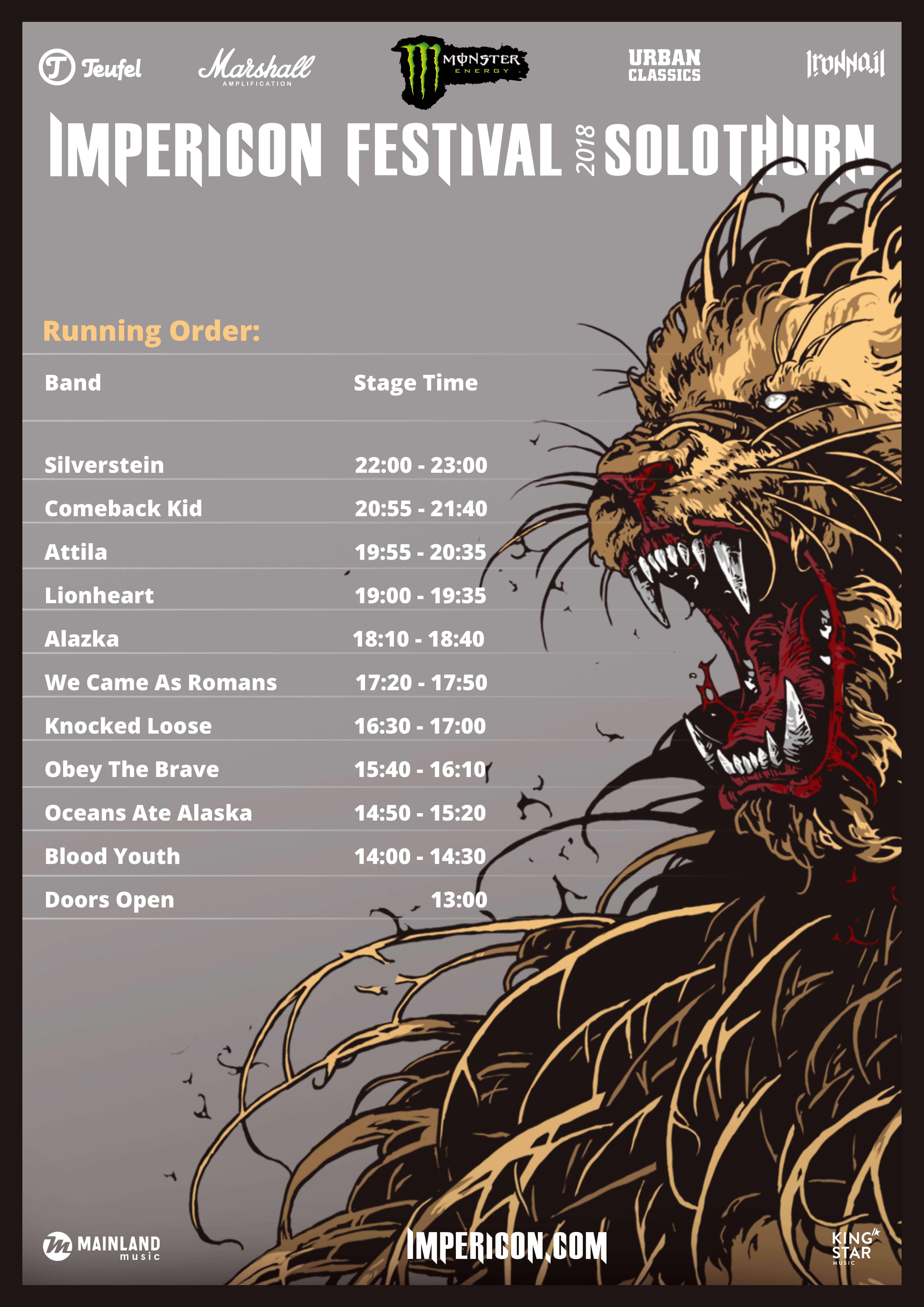 Running Order Impericon Festival Solothurn