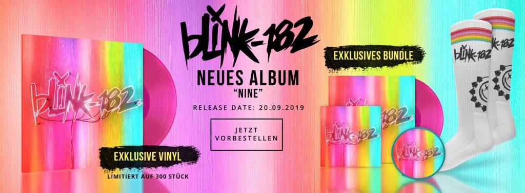 Blink 182, neues Album NINE erscheint am 20. September. Exklusive, auf 300 Einheiten limitierte Magenta-farbene Vinyl. Patch und Socken im exklusiven Bundle